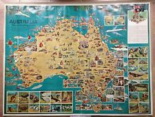 AUSTRALIA VERY LARGE PICTURIAL MAP DATED 1972