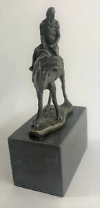 "9""x7"" Signed Figure Bronze Bergman Arab Man Riding Camel Bronze Sculpture Deal"