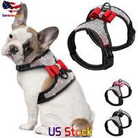 Reflective Dog Harness Nylon Pitbull Pug Harnesses Vest Bling Rhinestone Bowknot
