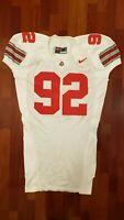 #92 White Game Worn Ohio State Buckeyes Football Jersey - Size 52 - Nike Team