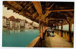 CPA Suisse Centrale Luzern Lucerne Kappellbrûcke pont de la Chapelle animé