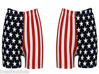 WOMENS USA AMERICAN FLAG HOT PANTS SHORTS STARS STRIPES LADIES INDEPENDANCE DAY