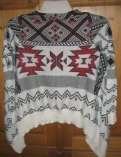 Hippie Rose Women's Sweater Wrap Aztec Beige Red Print size X Small Excellent