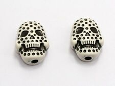 50 White with Black Dotted Halloween Gothic Skull Acrylic Beads 20mm