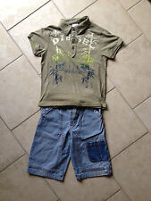 Diesel polo shirt and MEXX jeans board shorts, size 6