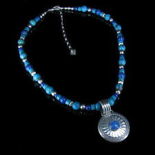 .925 Sterling Silver Natural Blue Lapis and Turquoise Beaded Necklace