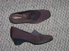 womens george confort start brown fabric slip on wedge heels shoes size 8 1/2