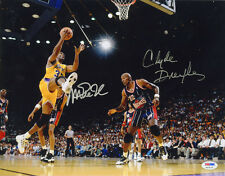 Magic Johnson & Clyde Drexler DUAL SIGNED 11x14 Photo ITP PSA/DNA AUTOGRAPHED