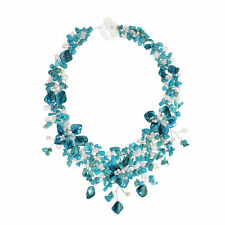 Intricate Blue Turquoise Bouquet and Freshwater Pearls Statement Necklace