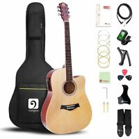 41 Inch 6 String Full Size Dreadnought Electric Acoustic Cutaway Guitar Bundle