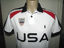Men's $145 (LT-Tall) POLO-RALPH LAUREN White Mesh PONY & USA FLAG Polo Shirt