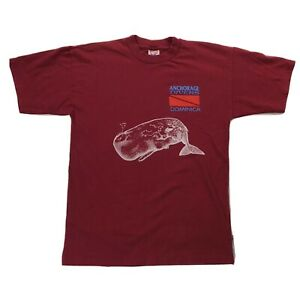 Vtg Anchorage Whale Watch Dive Center Shirt Sz Large Red Short Sleeve Tee