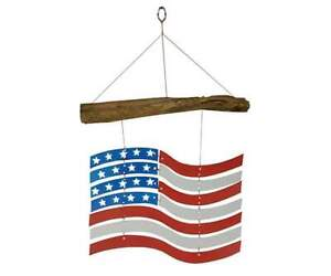 "Wind Chime US FLAG STARS 'N STRIPES Handcrafted Glass w/""Found"" Wood (GEBLUE559)"