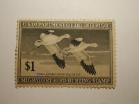 US Department of Interior Scott #RW14 $1 Snow Geese Stamp 1947, Used