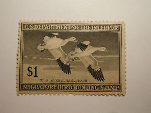 US Department of Interior Scott #RW14 $1 Snow Geese Stamp 1947, Used