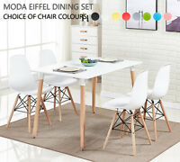 Moda Dining Set - 4 x Moda Eiffel Dining Chairs & White Halo Large Dining Table
