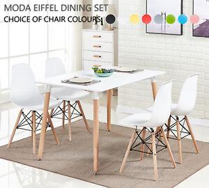 Moda Comedor Juego - 4X Moda Eiffel Sillas de Comedor & Blanco Halo Grande Mesa