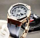 Casio G-Shock GA-2100 Mod Kit Rose Gold Watch-Case and Sliver Bezel Gray Strap