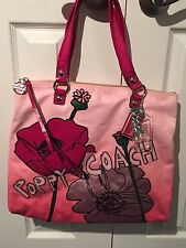 Coach Poppy Pink Floral Ombre Tote 16340