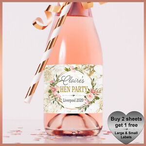 Personalised Marble Hen Party CHAMPAGNE / WINE Prosecco LABELS Small  Birthday
