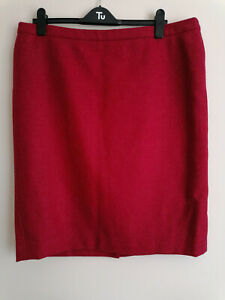 Pure Collection Raspberry British Tweed by Moon Wool Skirt UK 20