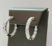 Woman's 14K White Gold Over 2.00 Cttw Round Cut White Diamond Hoop Earrings