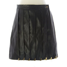TOPSHOP Women's Black Leather Zipper Lined A-Line Skirt UK Size 10 NEW