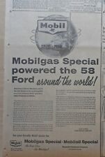 1957 newspaper ad for Ford, Mobil - Dan Eames recommends Mobil for '58 Fords