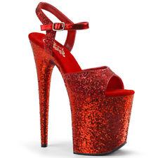 Pleaser FLAMINGO-810LG Women's Red Glitter High Heel Platform Ankle Strap Sandal