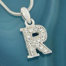 R Capital Uppercase Letter w Swarovski Crystal Initial Alphabet Pendant Necklace