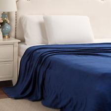 Bedsure Flannel Fleece Luxury Blanket Navy King Size Lightweight Cozy Plush