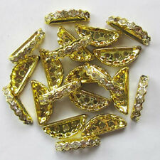 50pcs Plating Gold half-moon rhinestone crystal bead spacer bead 3- hole R331