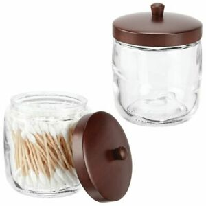 mDesign Glass Vanity Storage Organizer Canister Jar, 2 Pack - Clear/Brown Wood