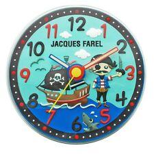 Wanduhr Kinder Jacques Farel blau Pirat Seeräuber leise  Fließsekunde NEU WAL05