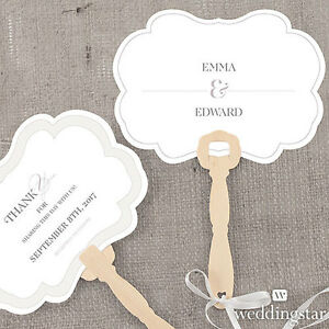 24 Personalized Classic Script Hand Fans Wedding Favors