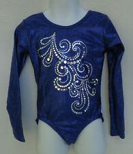 Garland Activewear Child Medium Leotard Girl Dance Gymnastics Foil Blue