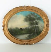 Vintage Original Pastel Painting, Pond and Forest Art, Gesso Gold Framed Art