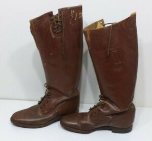 Vintage Brown Equestrian Cadet Military Patrol English Riding Boots Laces Army