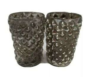 Set of 2 Bud Vases with Raised Bumps Silver Mercury Glass