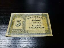 Morocco WWII 5 Francs Banknote 1943 P-33  030221-2