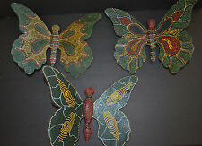 Butterfly Wooden Hand Painted Set of 3 Wall Decor Hanging Vtg Decorative
