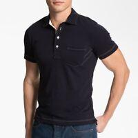 Billy Reid Men's Short Sleeve Pensacola Solid Pocket Polo Cotton Shirt Navy