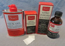 Vintage Sears 3 oz.Oil Can,Cleaning Patches & Solvent with Box,Cleaning Supplies