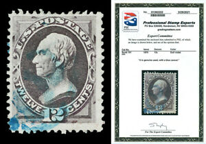 Scott 151 1870 12c Clay Hard Paper Issue Used F-VF Blue Cancel Cat $225 PSE CERT