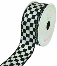 LUV RIBBONS Fabric Ribbon by Creative Ideas, 1-1/2-Inch, Black Checkered, White