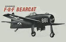 "Model Airplane Plans (UC): Berkeley F-8-F BEARCAT 26"" 1/16 Scale for .09-.19"