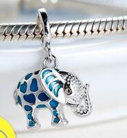 Silver 925 Cute Glowing Elephant Pendant Beads With Enamel Diy Jewelry Making