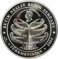 TURKMENISTAN 500 manat 2005 Silver 5 Oz. PF Family Tree of President 65 Birthday
