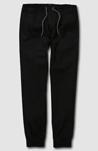 $74 Volcom Boy's Kid's Black Elastic Waist Cuff Pull On Jogger Pants US Size XL