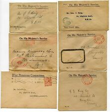 GB OFFICIAL PAID ENVS 1920-36 PRIVY COUNCIL WAR PENSIONS TREASURY POSB to G.KING